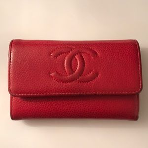 RED CHANEL WALLET/CARD HOLDER